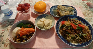 お昼ご飯 和風パスタ 高野豆腐 アジ南蛮