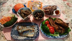 スペアリブ 鯖煮付 鰹タタキ 茄子牛肉煮物 煮込み
