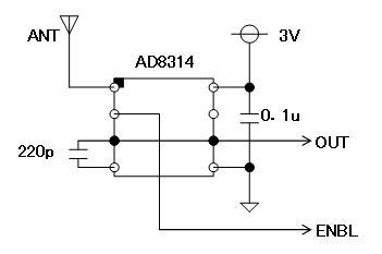 RFチェッカー表示部の省電力化AD8314回路図