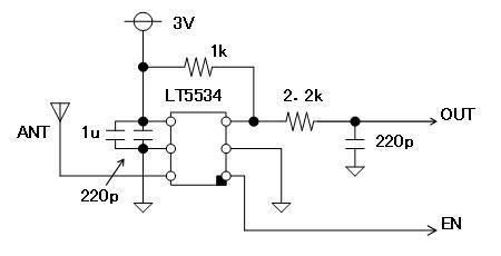RFチェッカー表示部の省電力化LT5534回路図