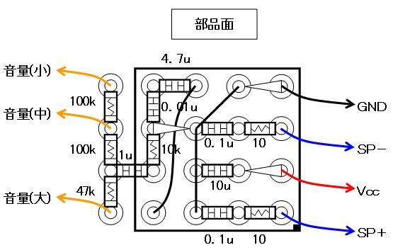 ミニBTLアンプ配線図部品面