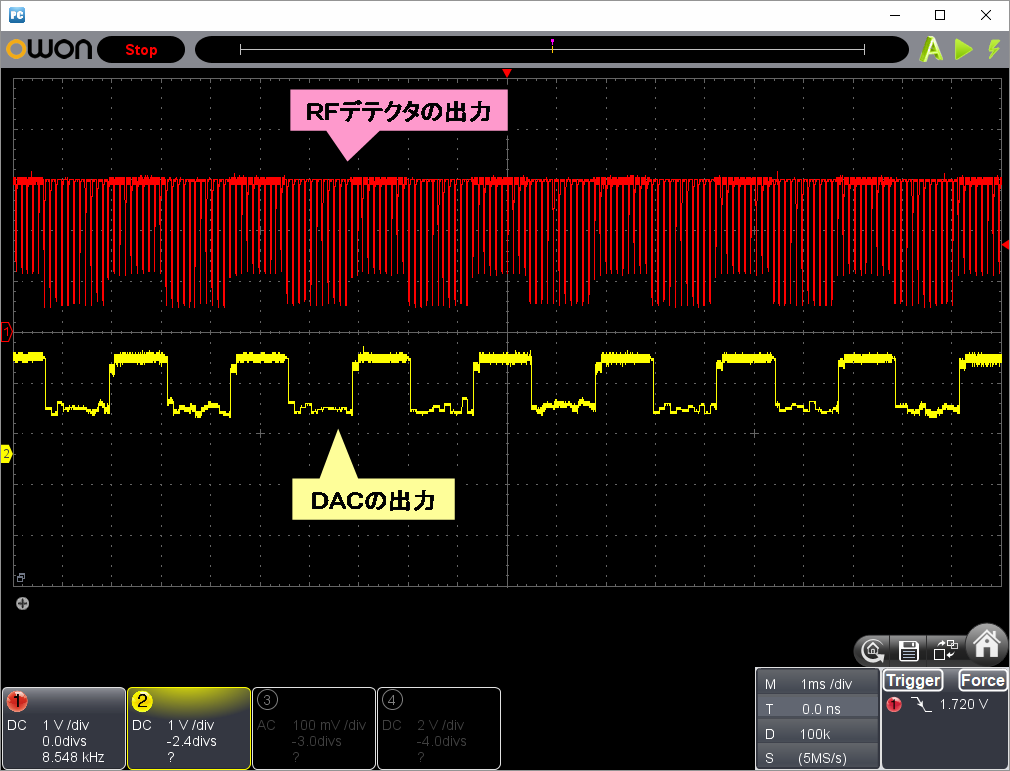 RFチェッカー表示部の省電力化(第3弾)観測波形
