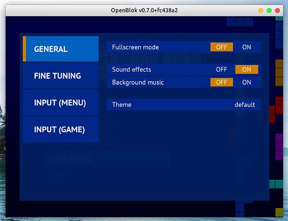 OpenBlok Ubuntu テトリス オプション 一般