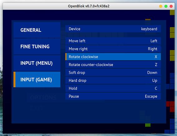 OpenBlok Ubuntu テトリス オプション キーボード