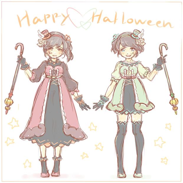 20171031当ブログサイト看板双子 レラ&アウラ -ハロウィン衣装ver-(日記用)