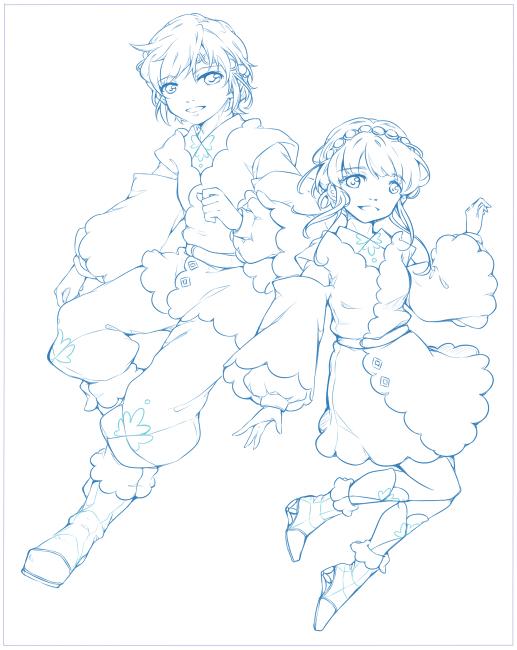 20171108白藍の衣装で(仮)線画まで