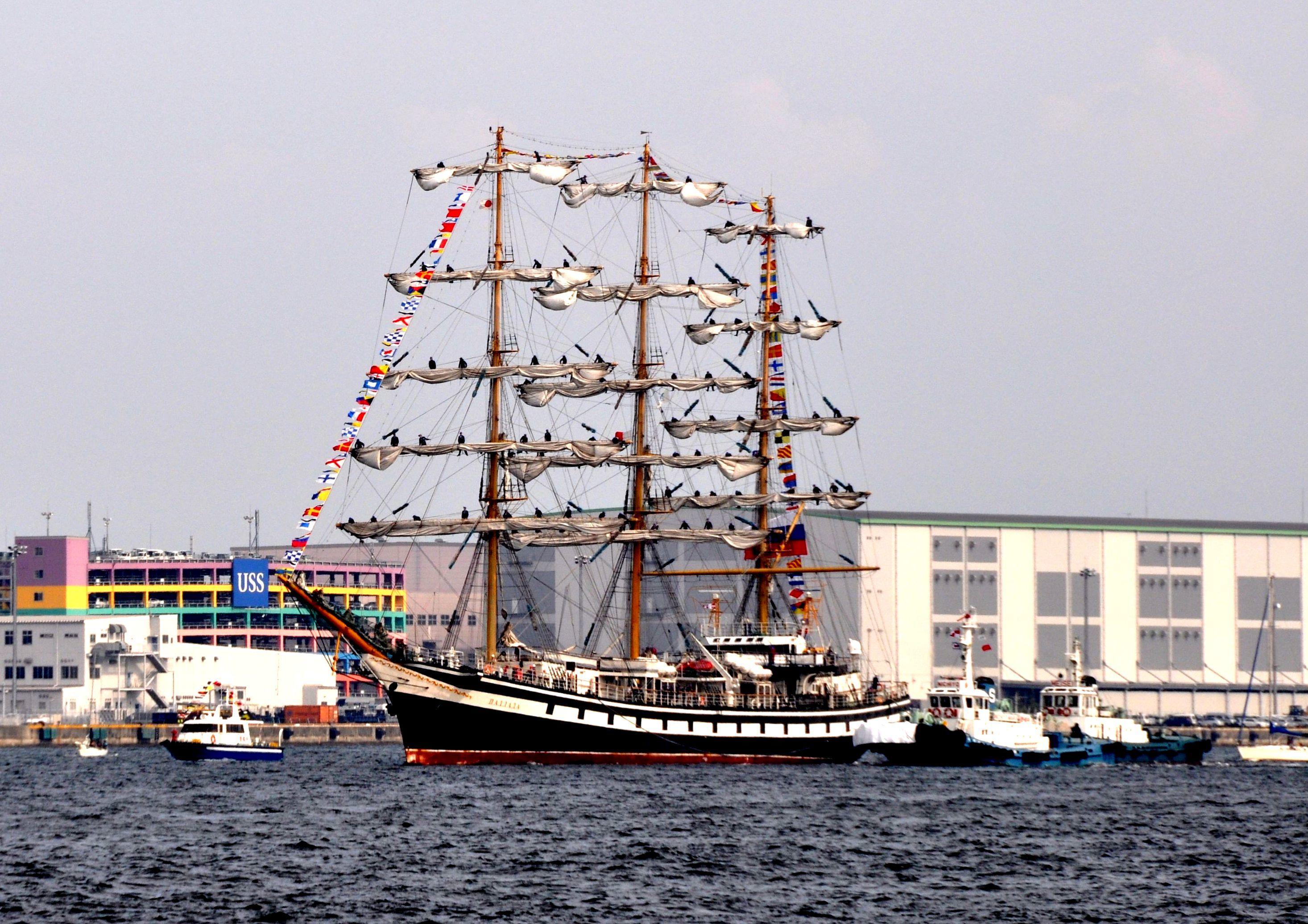 ⑤帆船入港   神戸メリケンパーク