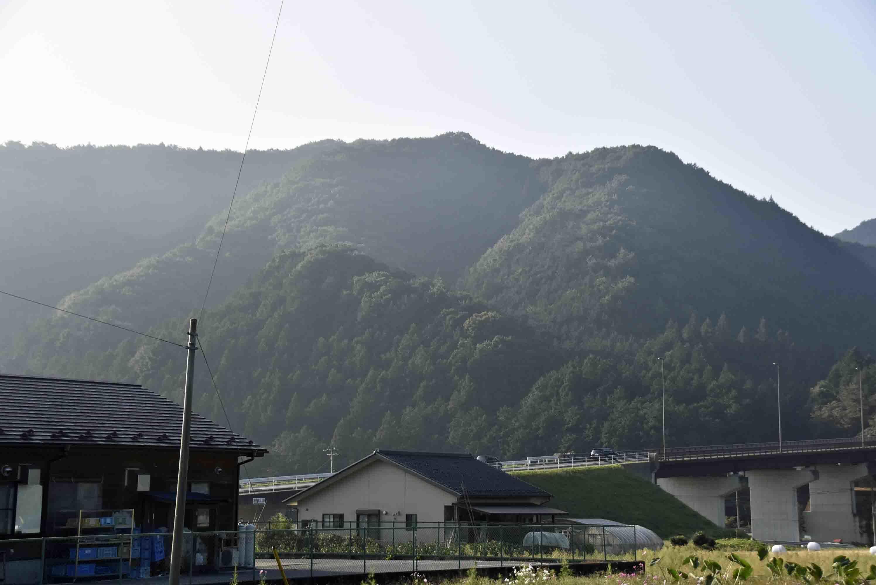 天狗沢城 遠景 手前の下の山が城