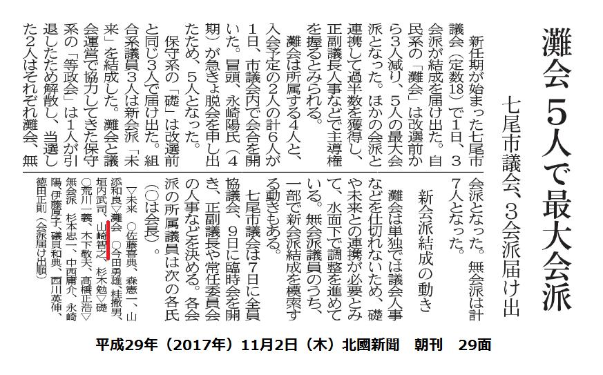 平成29年11月2日(木)北國新聞 朝刊 29面