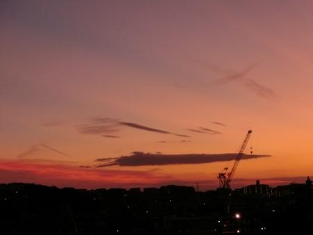 中秋の名月の日の夕焼け
