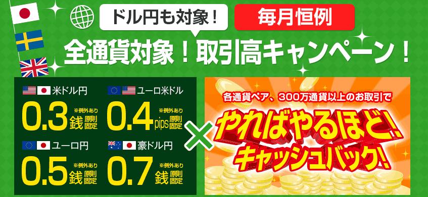 ドル円も対象!キャッシュバックキャンペーン!