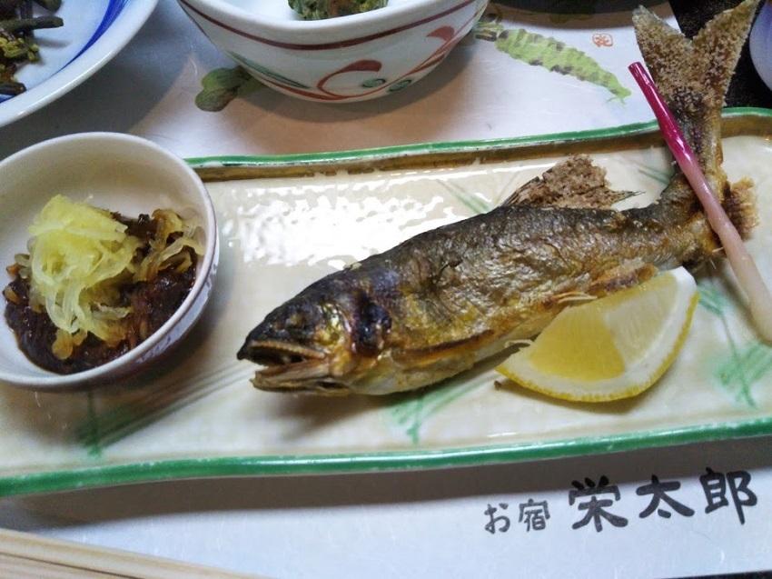 栄太郎 夕食料理 鮎の塩焼き