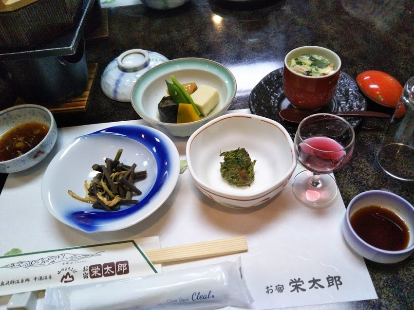 栄太郎 夕食料理 小鉢、茶碗蒸し、他