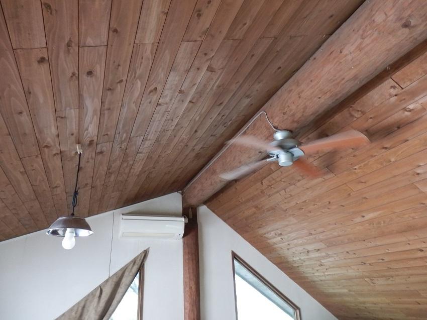 あかねの郷 コテージ ロフト寝室 天井