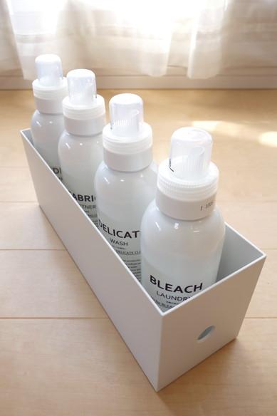 無印・ポリプロピレンファイルボックス・スタンダードタイプ・ホワイトグレー・1/2+セブン・洗剤 容器①