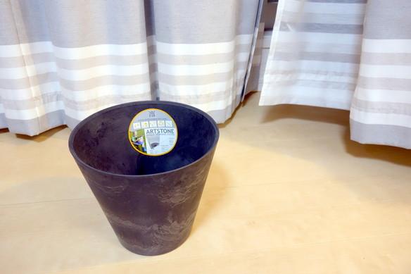 鉢・アートストーン ラウンド ブラック(直径27㎝)①