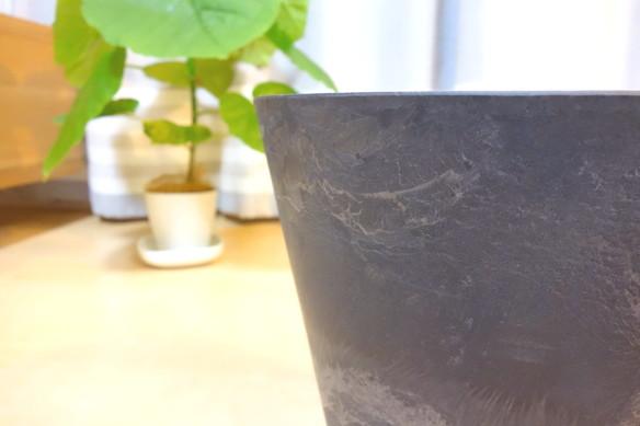 鉢・アートストーン ラウンド ブラック(直径27㎝)②