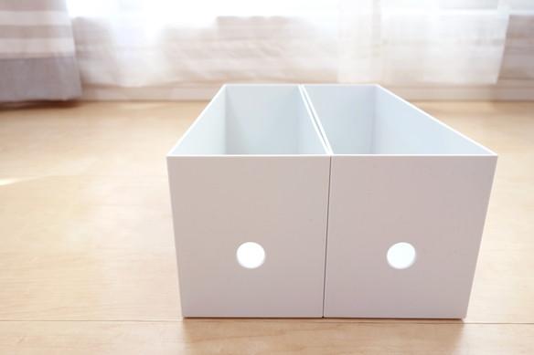 無印・ポリプロピレンファイルボックス・スタンダードタイプ・ホワイトグレー・1/2 約幅10×奥行32×高さ12cm③