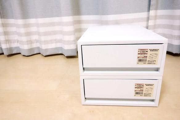 ポリプロピレンケース・引出式・浅型・ホワイトグレー (V)約幅26×奥行37×高さ12cm①