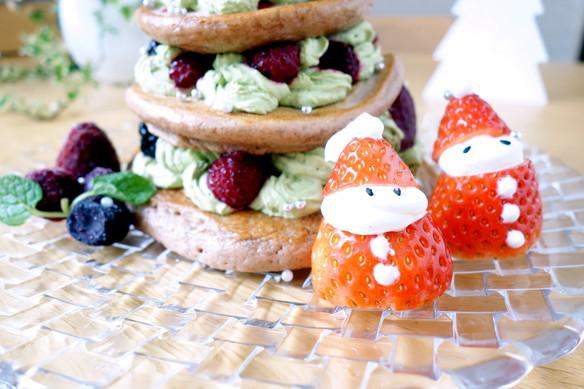 2017年・クリスマス・パンケーキ・ケーキ・いちご雪だるま①