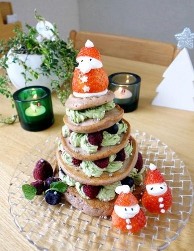 2017年・クリスマス・パンケーキタワー・ケーキ①