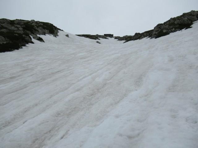 6月18日 社務所直下の雪渓詰めた